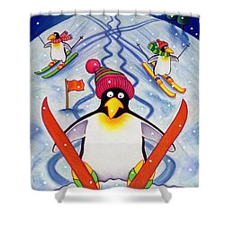 Skiing Holiday Shower Curtain by Cathy Baxter