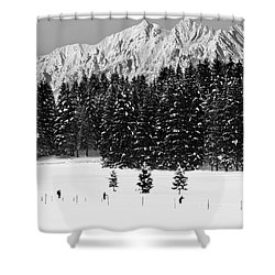 Skiing In The White Shower Curtain
