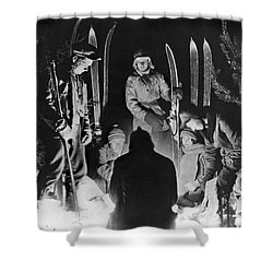 Skiing Party Camps In Siberia Shower Curtain by Underwood Archives