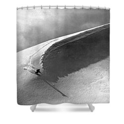 Skiing Under A Curl Shower Curtain by Underwood Archives