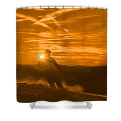 Skiing West Virgina Sunset Shower Curtain by Dan Friend