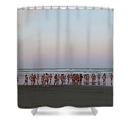 Skinny Dipping Down A Moon Beam Shower Curtain
