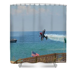 Shower Curtain featuring the photograph Skip Stewart Extreme Low-level Practice by Jeff at JSJ Photography