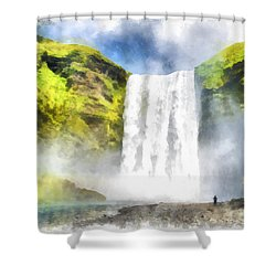 Skogafoss Waterfall Iceland Painting Aquarell Watercolor Shower Curtain