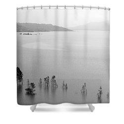 Skc 0055 A Hazy Riverscape Shower Curtain by Sunil Kapadia