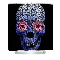 Skull Art - Day Of The Dead 1 Stone Rock'd Shower Curtain by Sharon Cummings