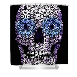 Skull Art - Day Of The Dead 2 Stone Rock'd Shower Curtain by Sharon Cummings