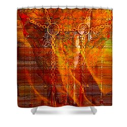 Skull On Fire Shower Curtain