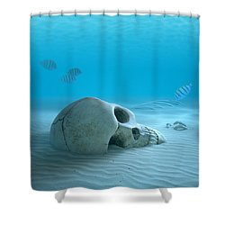 Skull On Sandy Ocean Bottom Shower Curtain by Johan Swanepoel