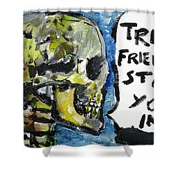 Skull Quoting Oscar Wilde.2 Shower Curtain by Fabrizio Cassetta