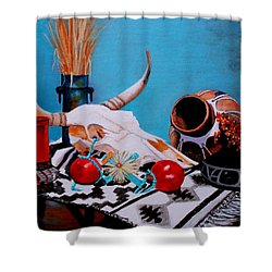 Skull Still Life Shower Curtain by M Diane Bonaparte