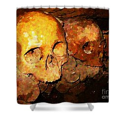 Skulls In The Paris Catacombs Shower Curtain by John Malone