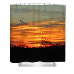 Sky At Sunset Shower Curtain by Cynthia Guinn