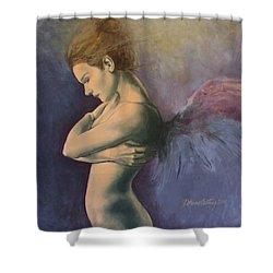 Sky Below Ground Shower Curtain by Dorina  Costras
