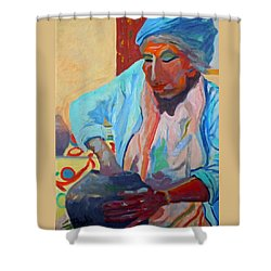 Shower Curtain featuring the painting Sky City - Marie by Francine Frank