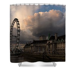 Sky Drama Around The London Eye Shower Curtain