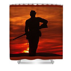 Sky Fire - 111th New York Infantry Hancock Avenue Brian Farm Cemetery Ridge Sunset Winter Gettysburg Shower Curtain by Michael Mazaika