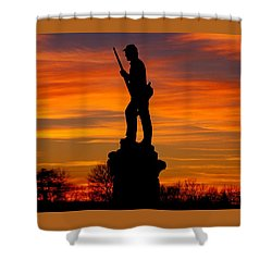 Sky Fire - 128th Pennsylvania Volunteer Infantry A1 Cornfield Avenue Sunset Antietam Shower Curtain by Michael Mazaika