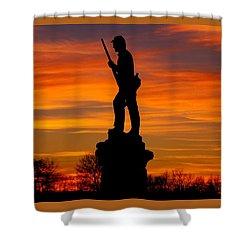Shower Curtain featuring the photograph Sky Fire - 128th Pennsylvania Volunteer Infantry A1 Cornfield Avenue Sunset Antietam by Michael Mazaika