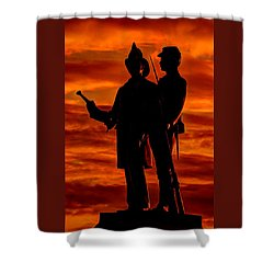 Sky Fire - 73rd Ny Infantry Fourth Excelsior Second Fire Zouaves-b1 Sunrise Autumn Gettysburg Shower Curtain by Michael Mazaika