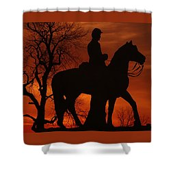Shower Curtain featuring the photograph Sky Fire - 8th Pennsylvania Cavalry Regiment Pleasonton Avenue Sunset Autumn Gettysburg by Michael Mazaika