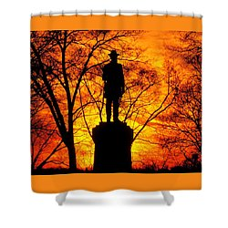 Sky Fire - Flames Of Battle 50th Pennsylvania Volunteer Infantry-a1 Sunset Antietam Shower Curtain by Michael Mazaika