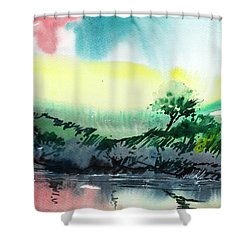 Sky N Lake Shower Curtain by Anil Nene