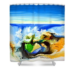 Shower Curtain featuring the painting Sky Ocean Rocks by Joan Hartenstein