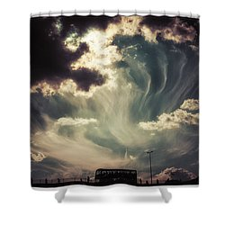 Sky Wisps Over A Double Decker Shower Curtain
