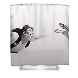 Skydiver Shower Curtain by Angel Ortiz