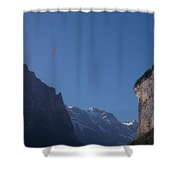 Skydiver Over Lauterbrunnen Shower Curtain