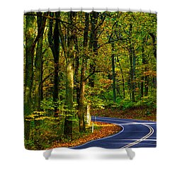 Skyline Drive Shower Curtain by Mitch Cat