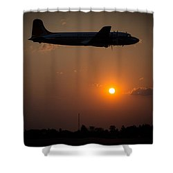 Shower Curtain featuring the photograph Skymaster Sunset by Paul Job
