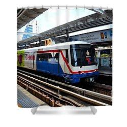 Skytrain Carriage Metro Railway At Nana Station Bangkok Thailand Shower Curtain by Imran Ahmed