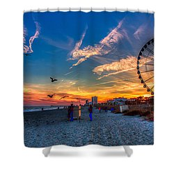 Skywheel Sunset At Myrtle Beach Shower Curtain by Robert Loe