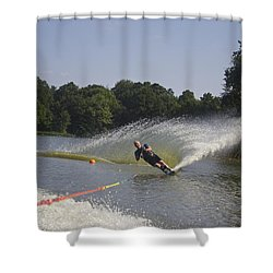 Slalom Waterskiing Shower Curtain by Venetia Featherstone-Witty