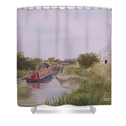 Shower Curtain featuring the painting Slapton Lock by Martin Howard