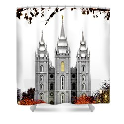 Slc White N Red Temple Shower Curtain by La Rae  Roberts