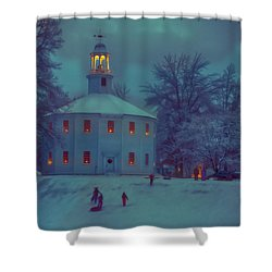 Sledding At The Old Round Church Shower Curtain by Jeff Folger