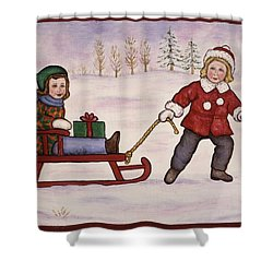 Sledding Shower Curtain by Linda Mears
