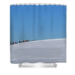 Dexter Drumlin Hill Sledding Shower Curtain