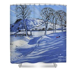 Sledging  Derbyshire Peak District Shower Curtain by Andrew Macara