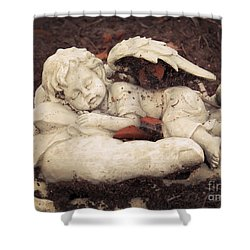 Shower Curtain featuring the photograph Baby Angel Sleeping In Gods Hands by Ella Kaye Dickey