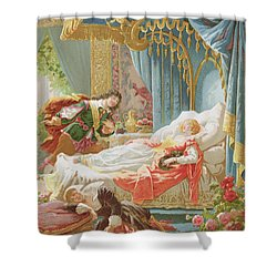 Sleeping Beauty And Prince Charming Shower Curtain by Frederic Lix