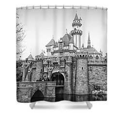 Sleeping Beauty Castle Disneyland Side View Bw Shower Curtain by Thomas Woolworth