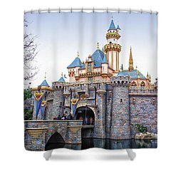 Sleeping Beauty Castle Disneyland Side View Shower Curtain