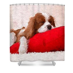 Shower Curtain featuring the digital art Sleeping Puppy On Red Pillow by Anthony Fishburne