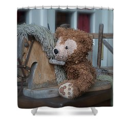 Shower Curtain featuring the photograph Sleepy Cowboy Bear by Thomas Woolworth