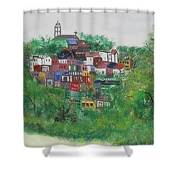 Sleepy Little Village Shower Curtain by Diane Pape