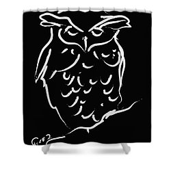 Sleepy Owl Shower Curtain by Go Van Kampen